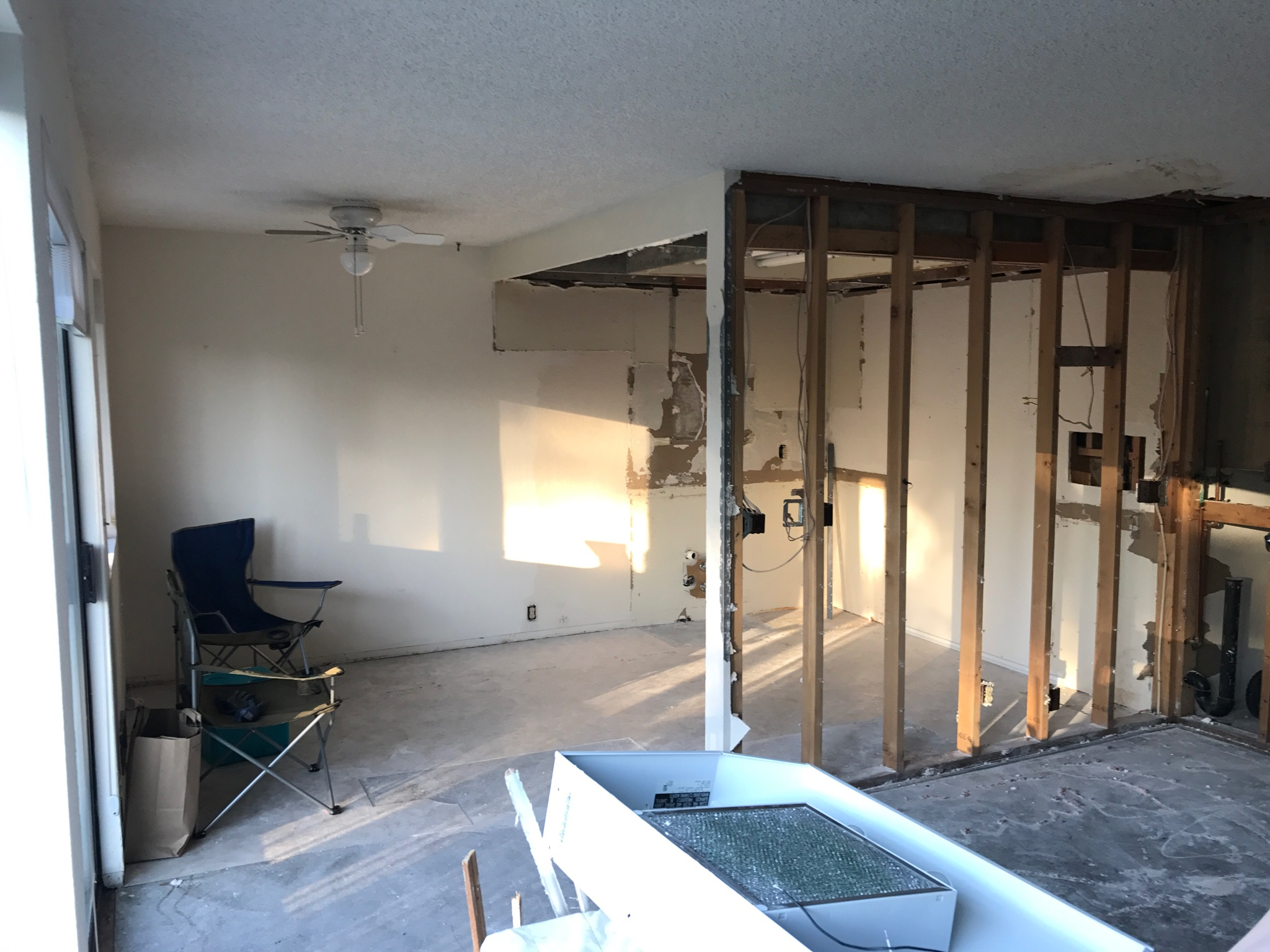 Unfinished interior project in need of drywall repair and installation