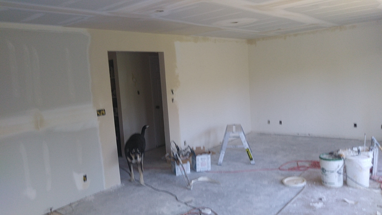 New ceiling and walls installation in progress