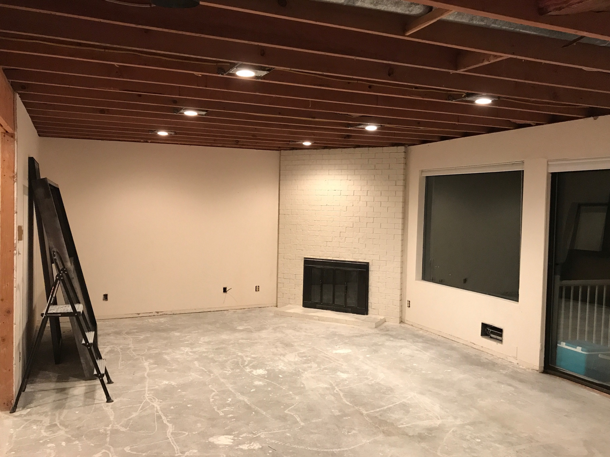 Family room before new ceiling and walls
